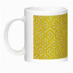 Hexagon1 White Marble & Yellow Colored Pencil Night Luminous Mugs by trendistuff