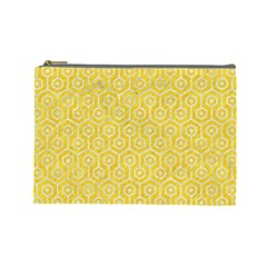 Hexagon1 White Marble & Yellow Colored Pencil Cosmetic Bag (large)  by trendistuff