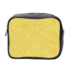 Hexagon1 White Marble & Yellow Colored Pencil Mini Toiletries Bag 2 Side by trendistuff
