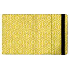 Hexagon1 White Marble & Yellow Colored Pencil Apple Ipad 3/4 Flip Case by trendistuff