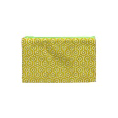 Hexagon1 White Marble & Yellow Colored Pencil Cosmetic Bag (xs) by trendistuff