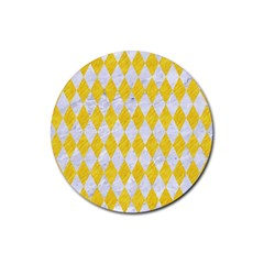 Diamond1 White Marble & Yellow Colored Pencil Rubber Coaster (round)  by trendistuff
