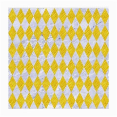 Diamond1 White Marble & Yellow Colored Pencil Medium Glasses Cloth (2 Side) by trendistuff