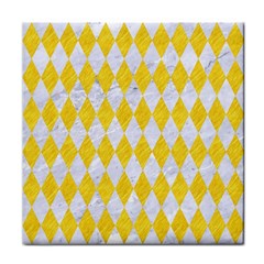 Diamond1 White Marble & Yellow Colored Pencil Face Towel