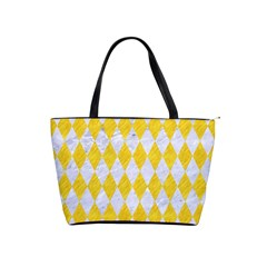 Diamond1 White Marble & Yellow Colored Pencil Shoulder Handbags by trendistuff