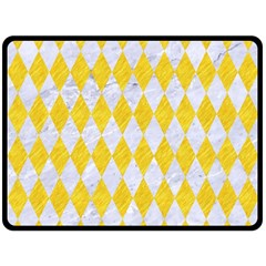 Diamond1 White Marble & Yellow Colored Pencil Fleece Blanket (large)  by trendistuff