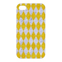 Diamond1 White Marble & Yellow Colored Pencil Apple Iphone 4/4s Hardshell Case by trendistuff