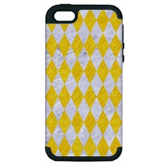 Diamond1 White Marble & Yellow Colored Pencil Apple Iphone 5 Hardshell Case (pc+silicone) by trendistuff