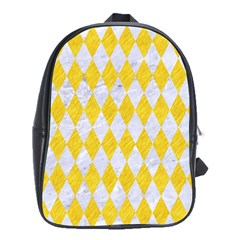 Diamond1 White Marble & Yellow Colored Pencil School Bag (xl) by trendistuff