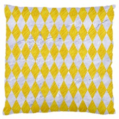 Diamond1 White Marble & Yellow Colored Pencil Standard Flano Cushion Case (two Sides) by trendistuff
