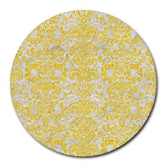 Damask2 White Marble & Yellow Colored Pencil (r) Round Mousepads by trendistuff