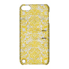 Damask2 White Marble & Yellow Colored Pencil (r) Apple Ipod Touch 5 Hardshell Case With Stand by trendistuff