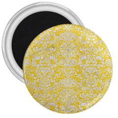 Damask2 White Marble & Yellow Colored Pencil 3  Magnets by trendistuff