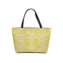 Damask2 White Marble & Yellow Colored Pencil Shoulder Handbags by trendistuff