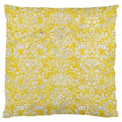 Damask2 White Marble & Yellow Colored Pencil Large Cushion Case (two Sides) by trendistuff