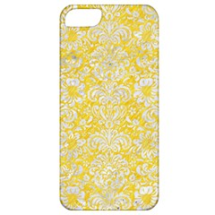 Damask2 White Marble & Yellow Colored Pencil Apple Iphone 5 Classic Hardshell Case by trendistuff