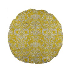 Damask2 White Marble & Yellow Colored Pencil Standard 15  Premium Flano Round Cushions by trendistuff
