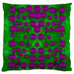 The Pixies Dance On Green In Peace Large Cushion Case (one Side) by pepitasart