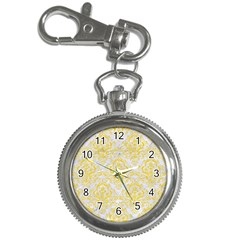 Damask1 White Marble & Yellow Colored Pencil (r) Key Chain Watches by trendistuff
