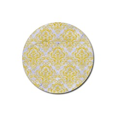 Damask1 White Marble & Yellow Colored Pencil (r) Rubber Coaster (round)  by trendistuff