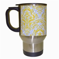 Damask1 White Marble & Yellow Colored Pencil (r) Travel Mugs (white) by trendistuff
