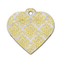 Damask1 White Marble & Yellow Colored Pencil (r) Dog Tag Heart (one Side) by trendistuff