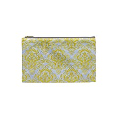 Damask1 White Marble & Yellow Colored Pencil (r) Cosmetic Bag (small)  by trendistuff