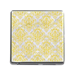 Damask1 White Marble & Yellow Colored Pencil (r) Memory Card Reader (square) by trendistuff