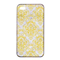 Damask1 White Marble & Yellow Colored Pencil (r) Apple Iphone 4/4s Seamless Case (black) by trendistuff