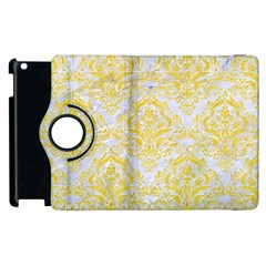 Damask1 White Marble & Yellow Colored Pencil (r) Apple Ipad 3/4 Flip 360 Case by trendistuff