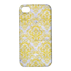 Damask1 White Marble & Yellow Colored Pencil (r) Apple Iphone 4/4s Hardshell Case With Stand by trendistuff