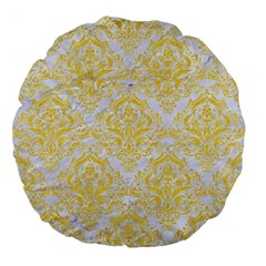 Damask1 White Marble & Yellow Colored Pencil (r) Large 18  Premium Flano Round Cushions by trendistuff