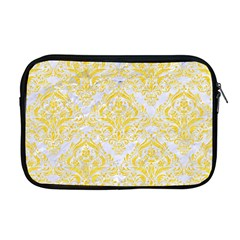Damask1 White Marble & Yellow Colored Pencil (r) Apple Macbook Pro 17  Zipper Case by trendistuff