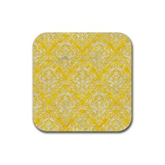 Damask1 White Marble & Yellow Colored Pencil Rubber Coaster (square)  by trendistuff