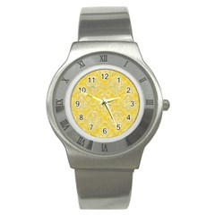 Damask1 White Marble & Yellow Colored Pencil Stainless Steel Watch