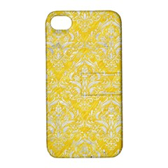 Damask1 White Marble & Yellow Colored Pencil Apple Iphone 4/4s Hardshell Case With Stand by trendistuff