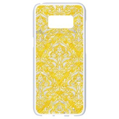 Damask1 White Marble & Yellow Colored Pencil Samsung Galaxy S8 White Seamless Case by trendistuff