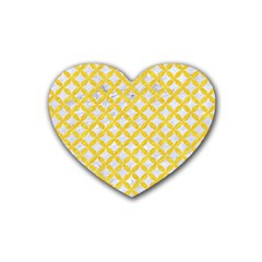 Circles3 White Marble & Yellow Colored Pencil (r) Heart Coaster (4 Pack)  by trendistuff
