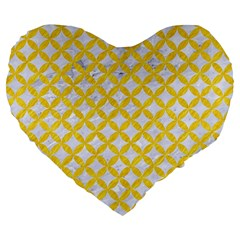 Circles3 White Marble & Yellow Colored Pencil (r) Large 19  Premium Flano Heart Shape Cushions by trendistuff