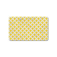 Circles3 White Marble & Yellow Colored Pencil Magnet (name Card) by trendistuff