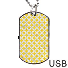 Circles3 White Marble & Yellow Colored Pencil Dog Tag Usb Flash (two Sides) by trendistuff