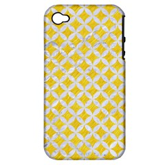 Circles3 White Marble & Yellow Colored Pencil Apple Iphone 4/4s Hardshell Case (pc+silicone) by trendistuff