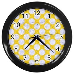 Circles2 White Marble & Yellow Colored Pencil Wall Clocks (black) by trendistuff
