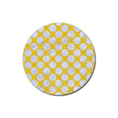 Circles2 White Marble & Yellow Colored Pencil Rubber Round Coaster (4 Pack)  by trendistuff
