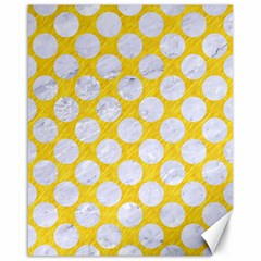 Circles2 White Marble & Yellow Colored Pencil Canvas 16  X 20   by trendistuff