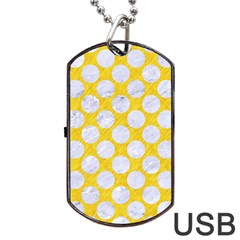 Circles2 White Marble & Yellow Colored Pencil Dog Tag Usb Flash (two Sides) by trendistuff