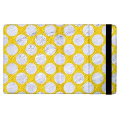 Circles2 White Marble & Yellow Colored Pencil Apple Ipad 3/4 Flip Case by trendistuff