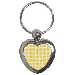 Circles1 White Marble & Yellow Colored Pencil (r) Key Chains (heart)  by trendistuff