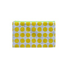 Circles1 White Marble & Yellow Colored Pencil (r) Cosmetic Bag (xs) by trendistuff