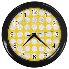 Circles1 White Marble & Yellow Colored Pencil Wall Clocks (black) by trendistuff